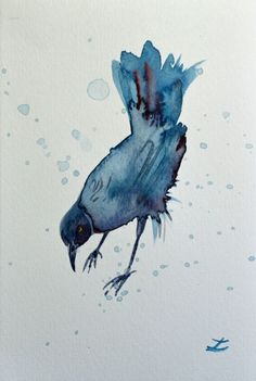 ARTFINDER: Chango by Zaira Dzhaubaeva - Original watercolor painting on mould-made deckle-edged Fabriano paper.  The Greater Antillean grackle in impressionist style.  Please note that the colo...
