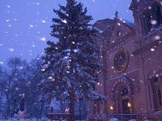 Snow Falls on a City Scene, Santa Fe, New Mexico