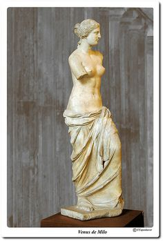 Venus de Milo  My photo taken at the Louvre in Paris. Aphrodite of Milos, better known as the Venus de Milo, is an ancient Greek statue and one of the most famous works of ancient Greek sculpture. Created sometime between 130 and 100 BC, it is believed to depict Aphrodite, the Greek goddess of love and beauty (Venus to the Romans).