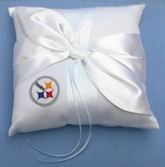 Taylor would love this lol Wedding Ring Bearer Pillow - Pittsburgh Steelers Football Themed Pittsburgh Steelers Merchandise, Pittsburgh Steelers Football, Bears Football, Pittsburgh Pa, Bear Wedding, Wedding Ring, Wedding 2015, Wedding Bells, Steelers Gear