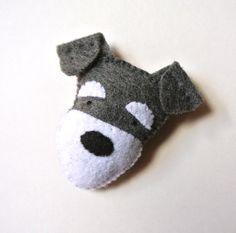 Schnauzer Dog Felt Brooch Grey Gray Schnauzer Felt Pin by mikaart, $14.99