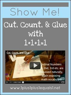 Video from 1+1+1=1 showing Cut, Count, Glue Preschool Printable in action!