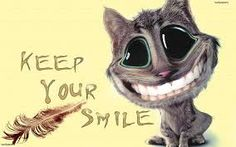Funny gray cartoon cat smiles to you. The cat has big black and green eyes, perfect white teeth, huge head and small body. The cat is sitting on a yellow background with note Keep your smile You Smile, Make Me Smile Quotes, He Makes Me Smile, Always Smile, Smile Wallpaper, Girl Wallpaper, Photo Wallpaper, Minimal Techno, Smile Images