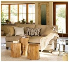 tree stumps instead of coffee table -- extra seating!