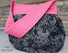 Sling Tote Tutorial from Crazy Little Projects. #sewing #purse