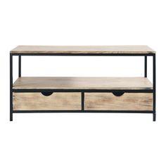 TV-Möbel aus Metall und Massivholz, B 117cm, schwarz