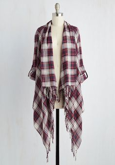 Beach House Brunch Jacket in Warm Plaid. As you take your seat in the sunroom, your draped jacket garners as many compliments as your fresh fruit salad. #multi #modcloth