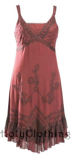 Burgundy Wine Roxy Boho Floral Embroidered Ruched Gypsy Hem Maxi Sun Dress - rainy day dreaming of summer and dress season! :)
