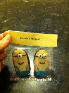 """Party favors- minions with Milano cookies, candy eyes and black and blue frosting- """"thanks a minion!"""""""