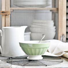 A green vintage French cafe au lait bowl