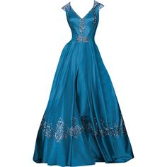 Randa Salamoun - edited by mlleemilee ❤ liked on Polyvore featuring dresses, gowns, long dresses, blue, blue gown, blue dress, long blue dress and blue evening gown