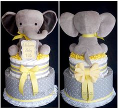 Gender Neutral Elephant Themed Diaper Cake www.facebook.com/DiaperCakesbyDiana