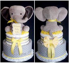 Gender Neutral Elephant Themed Diaper Cake www.facebook.com/DiaperCakesbyDiana