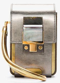 Lanvin Silver Coated Calfskin Partition Camera Bag - Repin if you love Lanvin