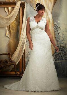 2017 Custom New White Ivory Lace Wedding Dress Bridal Ball Gown Plus Size 4