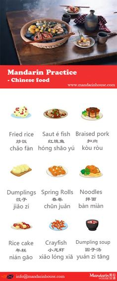 Chinese Food in Chinese.For more info please contact: bodi.li@mandarinhouse.cn The best Mandarin School in China.