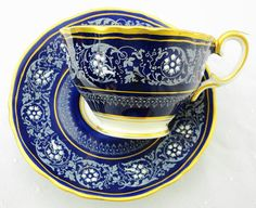 SALE - Crown Staffordshire White enamel cobalt blue Tea cup and saucer art deco