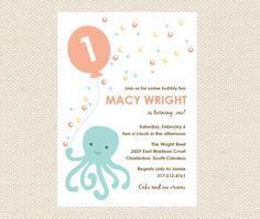 Printable Birthday Invitations, Octopus Invitations, Under the Sea Invitations, First Birthday Invitations, Circus Birthday on Etsy, $16.45 AUD