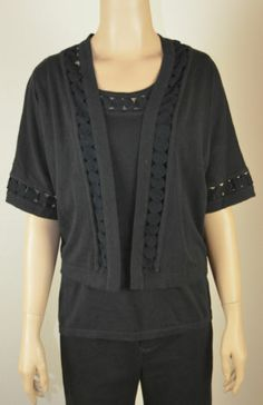 NWT&NWOT Charter Club Black Shell&Cardigan set size Large FREE SHIPPING Only $18.99 with FREE SHIPPING