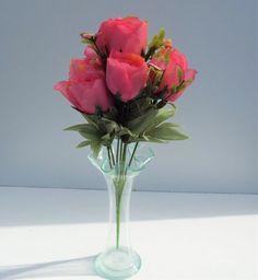 Artificial Flower Rose Bud Bush Dark Pink 35cm - Irish Plants Direct