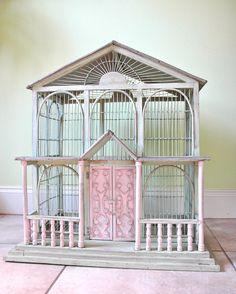 SALE  Large Antique Shabby Chic Bird Cage. $145.00, via Etsy.