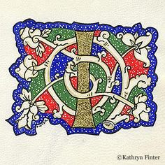 """Letter """"I"""", Kathryn Finter, 2002  23K gold leaf, semi-opaque watercolour paint and black ink on goat skin parchment, 86mm x 108mm (painting h x w).  White vine decoration used in 15th century Florence."""