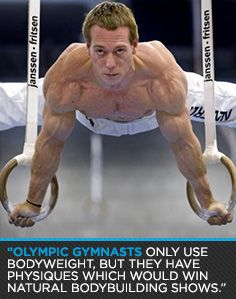 """""""Olympic gymnasts only use bodyweight, but they have physiques which would win natural bodybuilding shows."""" Great bodyweight training advice in this article!"""