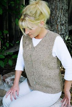 """Cardigan vest for women; Knitting Pure and Simple patterns;  gauge 16 st/4"""" (4 st/in)"""