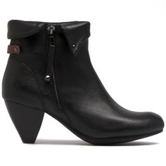 Taine features a fold over cuff, zip and corn heel. Black Ankle Boots, Cropped Pants, Looks Great, Style Me, Classy, Booty, Zip, Heels, Winter