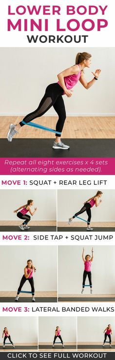 8 Best Resistance Band Exercises for Legs lower body workout legs workout resistance band workout glutes workout for women thigh workout for women Nourish Move Love Leg Workout With Bands, Best Leg Workout, Leg Day Workouts, Strength Training Workouts, At Home Workouts, Band Workouts, Exercise Workouts, Pilates Workout, Butt Workout