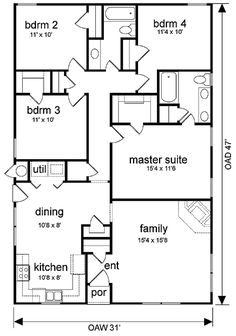 Floor Plan for a Small House 1,150 sf with 3 Bedrooms and 2 Baths ...