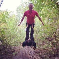 Greg flying high on a handy and obliging log. :) #AcroRevolution #Ottawa #GatineauPark #outaouaisfun #Acroyoga #AcroyogaOttawa #PartnerYoga #FitCouple #Fitness #Exercise #Fun #Love #Smile #Cute #SmileyOm #Balance #Trust #Silly #Yoga #Instayoga #Fly #Nature #Goofy