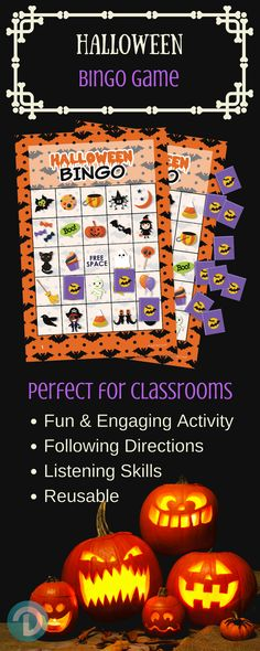 Halloween Bingo Game Set - for up to 24 Players.  Perfect Family-Friendly Halloween Game for Children.