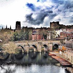 Durham City...Framwellgate bridge in the foreground.