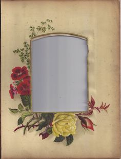 Photograph Mat from Victorian Photo Album, White Rose & Deep Pink Freesia
