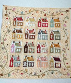Cute Quilts, Scrappy Quilts, Small Quilts, Mini Quilts, House Quilt Block, Quilt Blocks, Patch Quilt, Applique Quilts, Quilting Projects