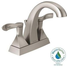 Delta Everly 4 in. Centerset 2-Handle Bathroom Faucet in SpotShield Brushed Nickel 25741LF-SP at The Home Depot - Mobile
