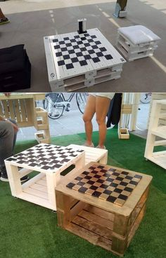 Backyard games 12173861480722277 - Pallet chess board Source by CamomilleL Diy Pallet Projects, Projects For Kids, Wood Projects, Woodworking Projects, Garden Projects, Garden Ideas, Woodworking Quotes, Woodworking Bed, Diy Yard Games