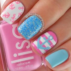 blue, pink & white stripes with anchors Nautical mani