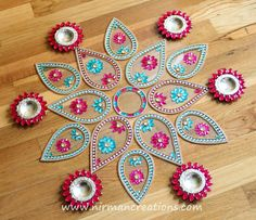 Being inspired by the lotus, here is another design for ready to use Rangoli. This design set consists of 6 big pan and 6 small pan from our very popular