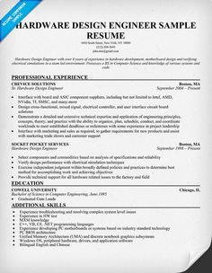 Hardware Design Engineer Resume Resume Prep Pinterest Sample