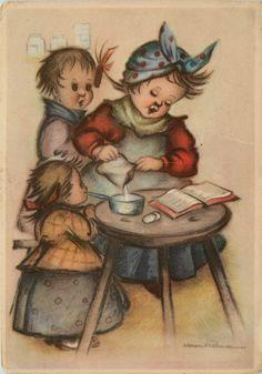 Artist Signed J Bukac 1912 Children Play House Cooking Vintage Postcard | eBay
