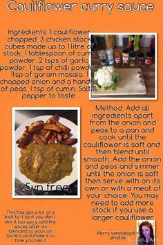 Cauliflower curry sauce Cauliflower Sauce, Curry Ingredients, Curry Sauce, Slimming World Recipes, Healthy Recipes For Weight Loss, Curry Powder, Garam Masala, Food And Drink, Cooking Recipes