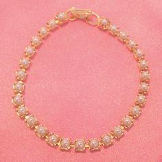 Vintage Gold Tone Faux Pearl Tennis Bracelet by BorrowedTimes on Etsy