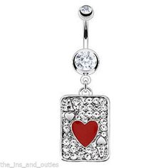 For all those card sharks!- Ace of Hearts Poker Card Paved w/ CZ Gems Belly Ring Red Navel Naval (w1034)  Take a look at this & more-   http://www.ebay.com/itm/Ace-of-Hearts-Poker-Card-Paved-w-CZ-Gems-Belly-Ring-Red-Navel-Naval-w1034-/321015461886