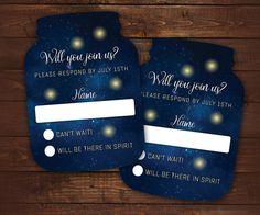 Firefly Wedding Invitations Mason Jar shaped cards Starry