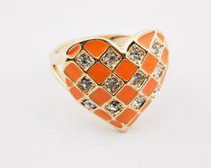 Gold Plated Yellow Rhinestone Heart Band Ring wholesale