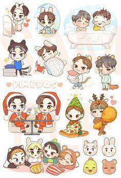 Kpop Fanart, Sekai Exo, Exo Cartoon, Exo Stickers, Exo Anime, Pen Pal Letters, Exo Fan Art, Kpop Drawings, Exo Xiumin