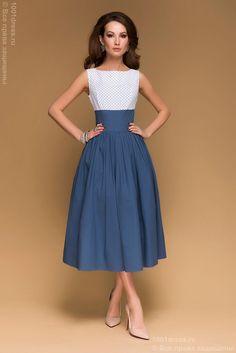 Купить синее платье длины миди с верхом в горошек и пышной юбкой в интернет-магазине 1001 DRESS