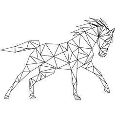 Dessin Coloriage cheval au galop a colorier Plus Geometric Designs, Geometric Shapes, Geometric Animal, Polygon Art, Geometric Drawing, Tape Art, Geometry Art, Horse Art, String Art